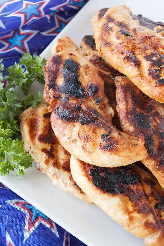 Grilled Marinated chicken on a plate.