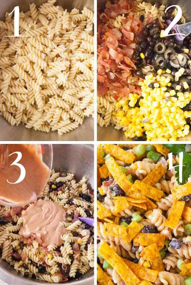 Collage of steps to make this pasta salad.