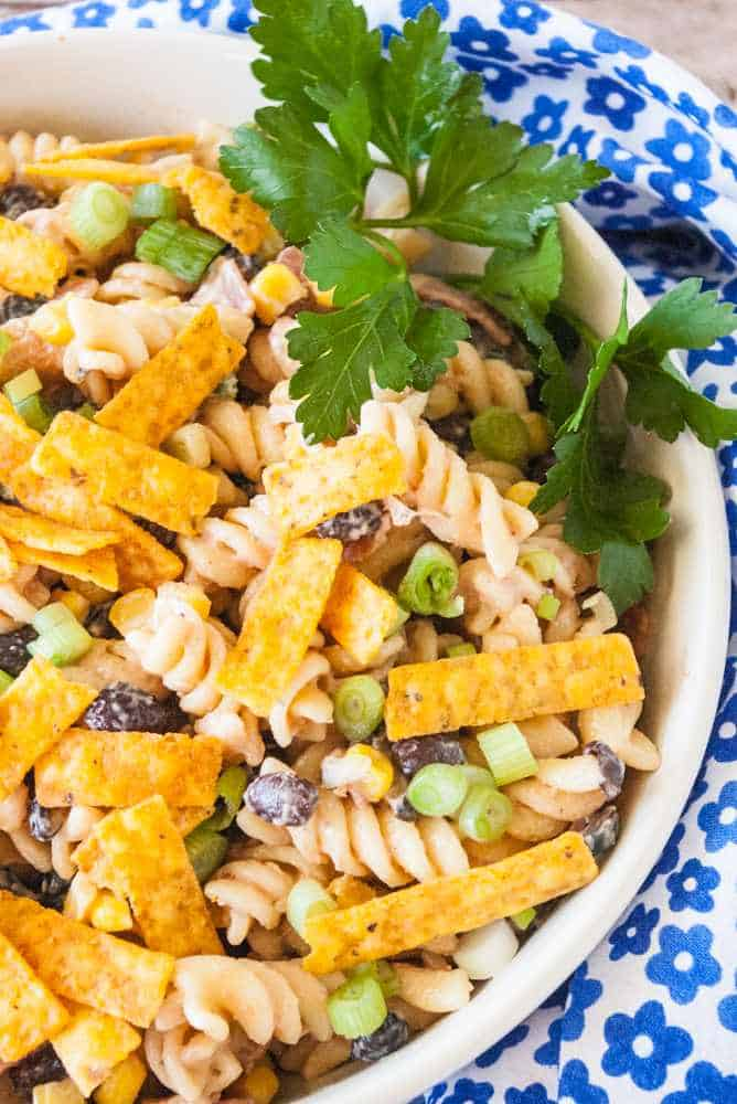 A bowl of barbecue ranch pasta salad