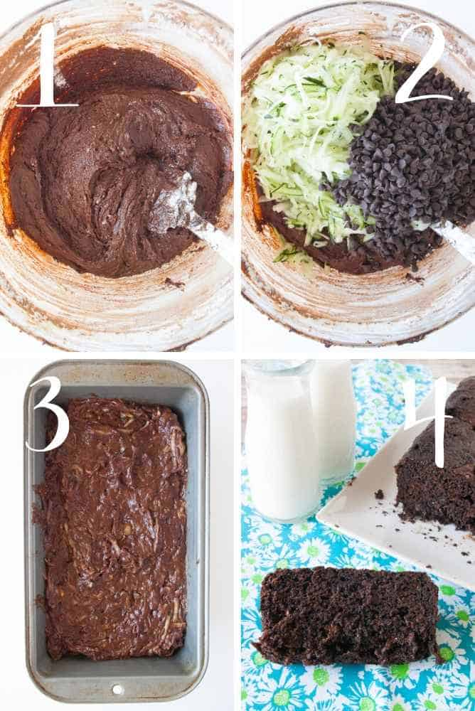 Collage of steps for making this chocolate zucchini bread.