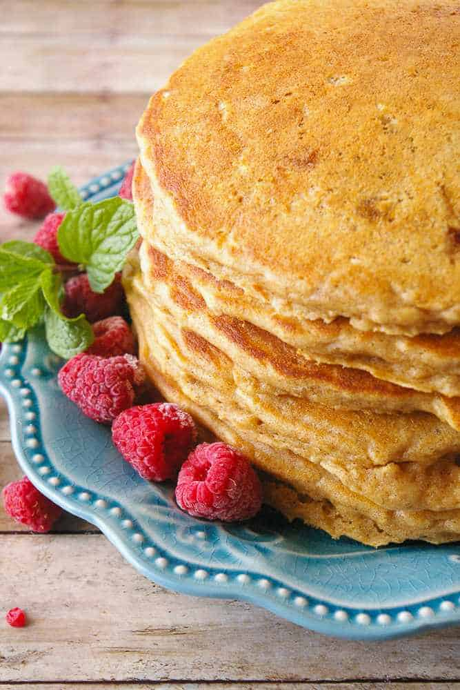 A stack of whole wheat pancakes