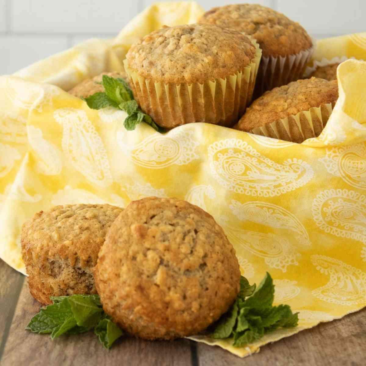 Basket of fresh banana oatmeal muffins