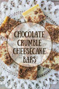 Pinnable image 6 for chocolate crumble cheesecake bars.