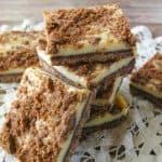 Facebook image for chocolate crumble cheesecake bars.