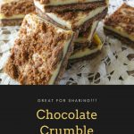 Pinnable image 2 for chocolate crumble cheesecake bars.