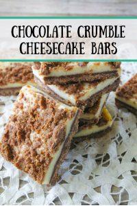 Pinnable image 5 for chocolate crumble cheesecake bars.