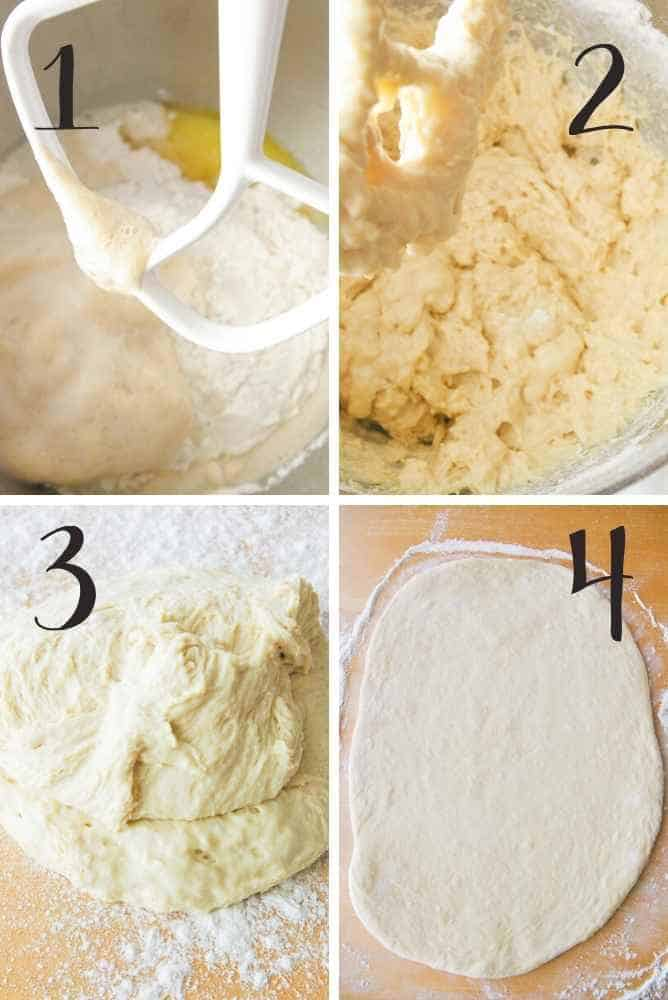 Collage of how to make the dough.