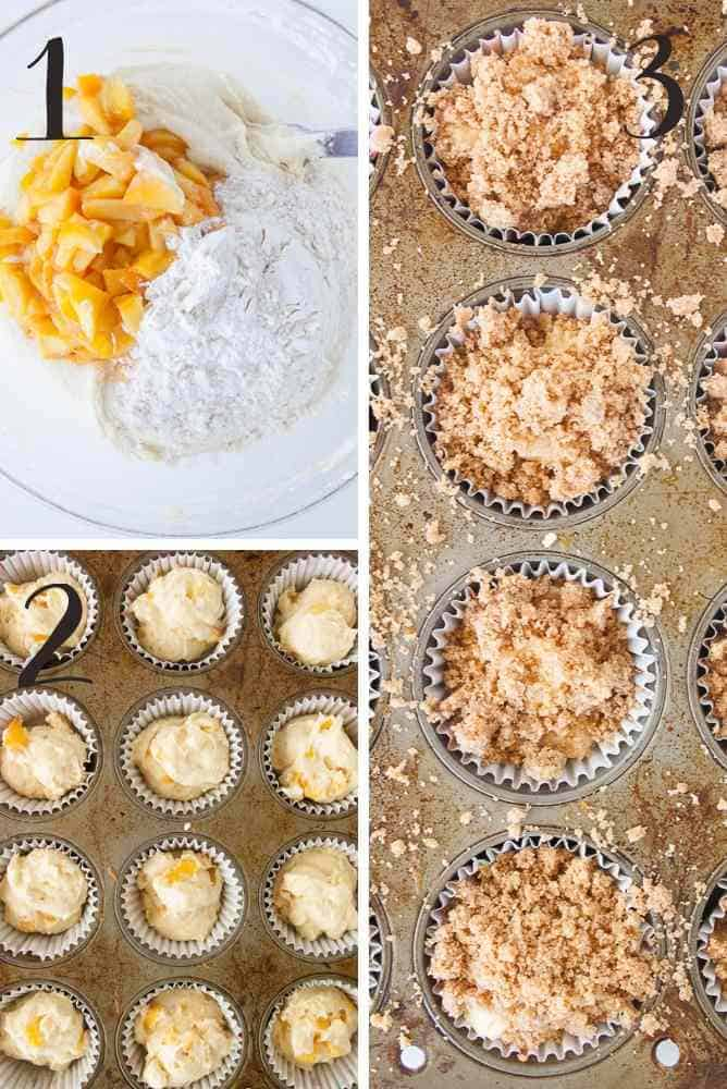Collage of steps for peach muffins