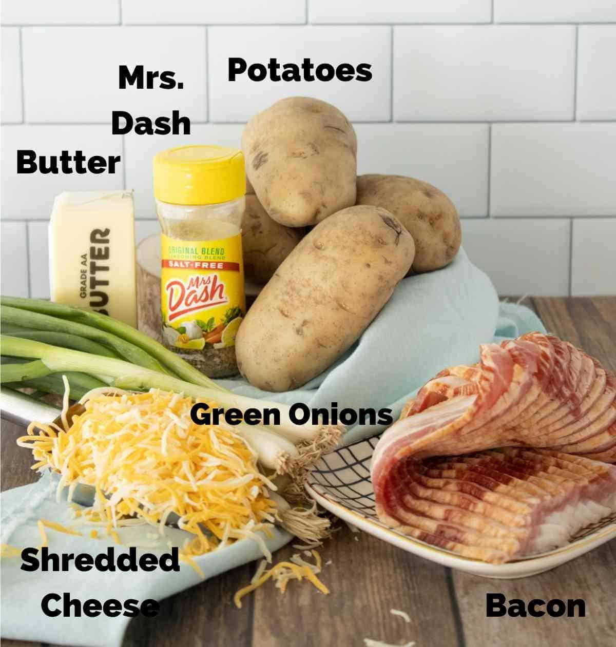 Ingredients for roasted loaded potatoes.