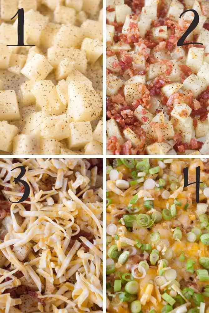 Progressive pics showing toppings added to the potatoes.