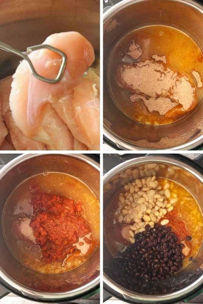 Process collage of steps for Instant pot chicken chili.