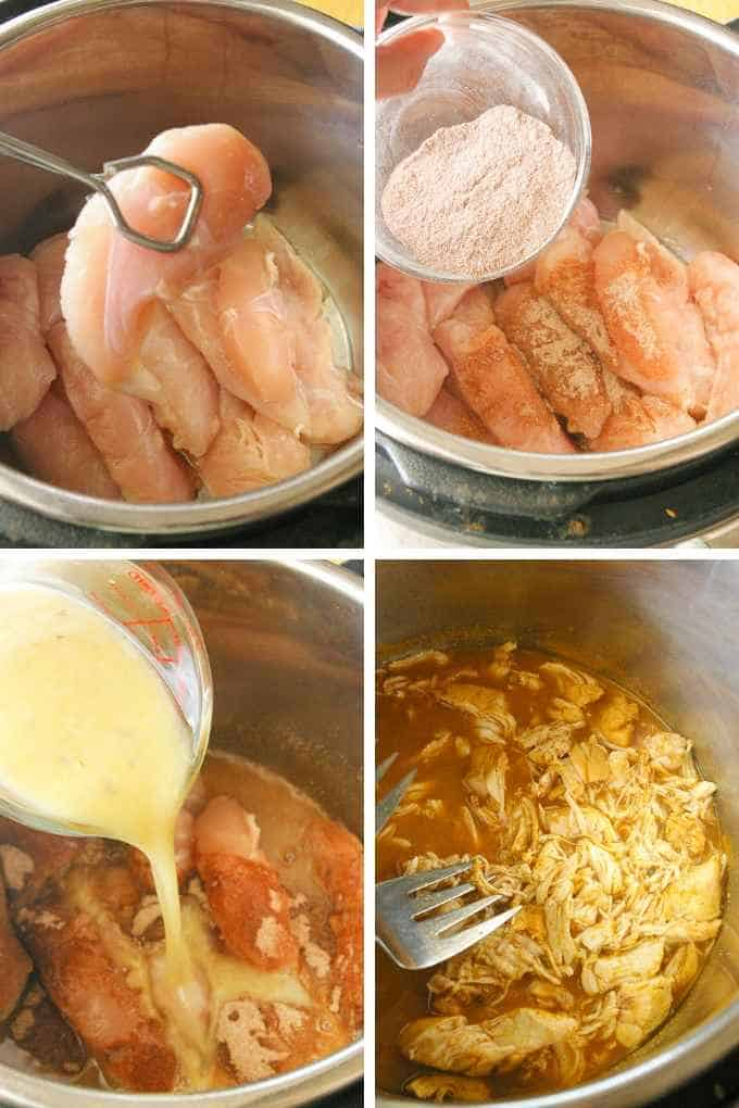 Process steps for instant pot taco chicken
