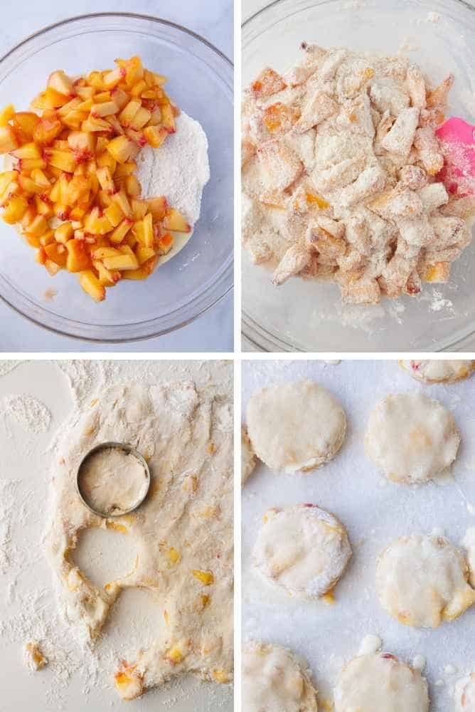 Collage of steps for peach scones.