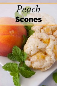 Pinnable image 1 for peach scones.