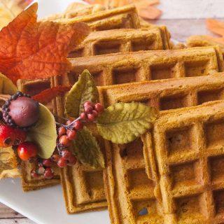Facebook image for pumpkin waffles.