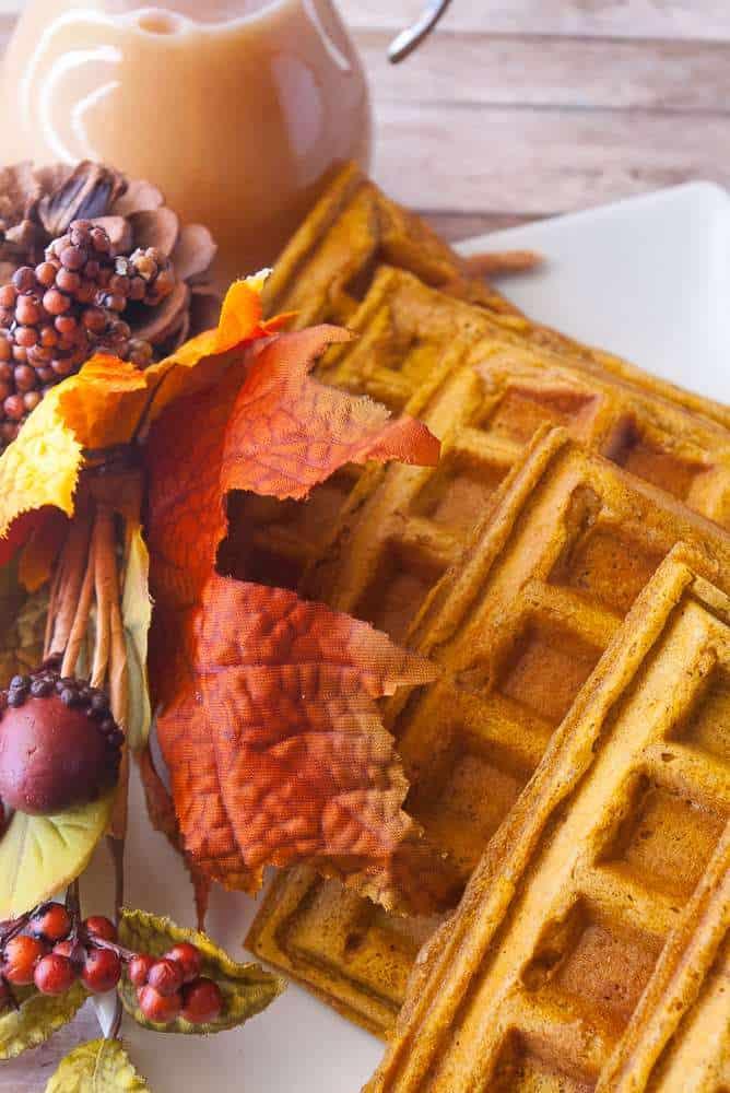 Pumpkin waffles on a plate.