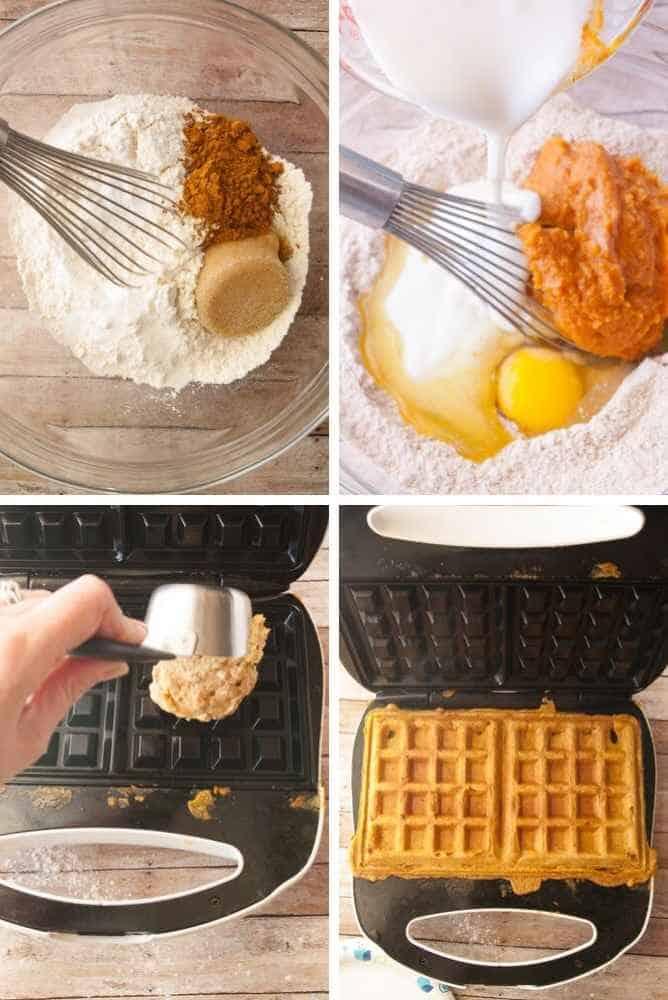 Process steps for pumpkin waffles.