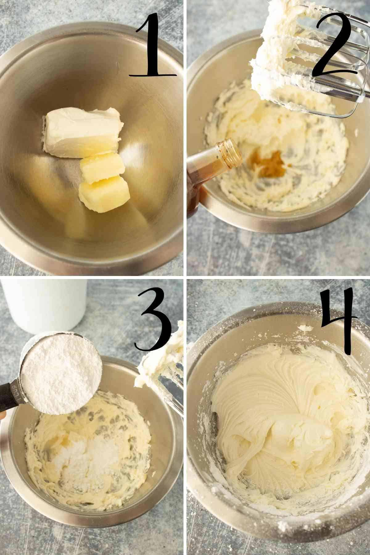 Beat the cream cheese, butter, vanilla, and powdered sugar to make the cream cheese frosting.