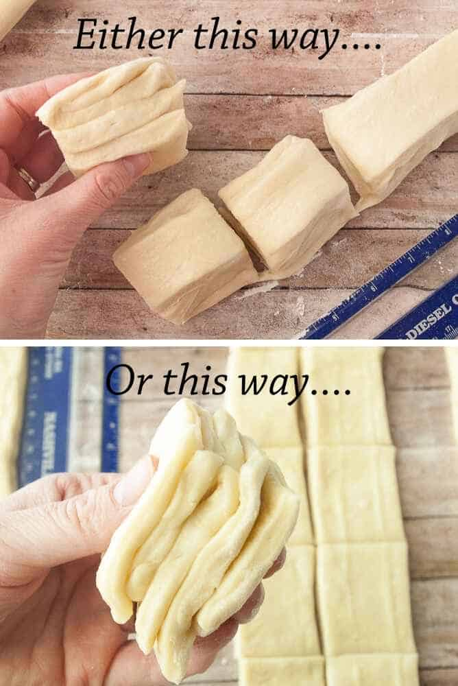 Collage of how to stack dough strips.