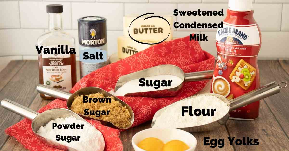 Ingredients for caramel butter cookies.
