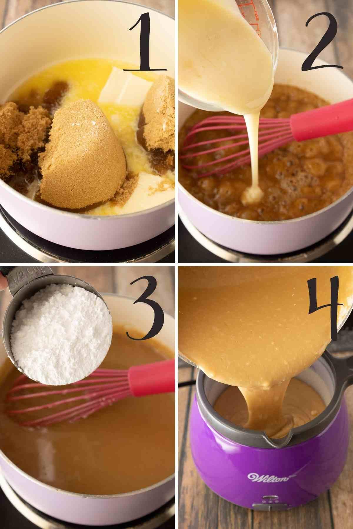 Steps for preparing the caramel frosting.