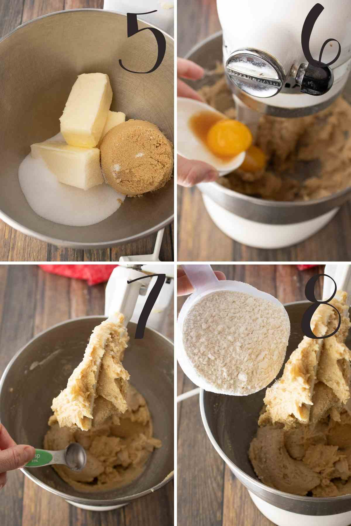 Steps for preparing the caramel cookie dough.