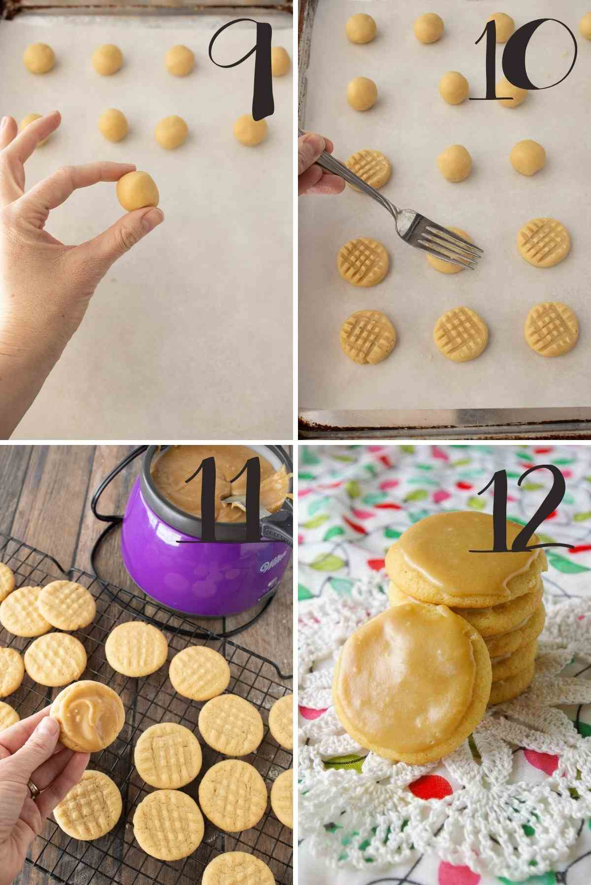 Steps to shape the cookies, bake them and frost them.