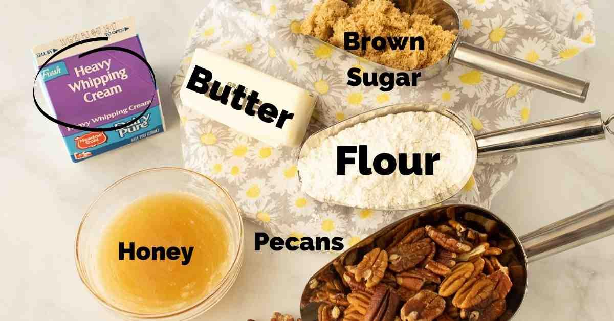 Ingredients to make pecan pie bars.