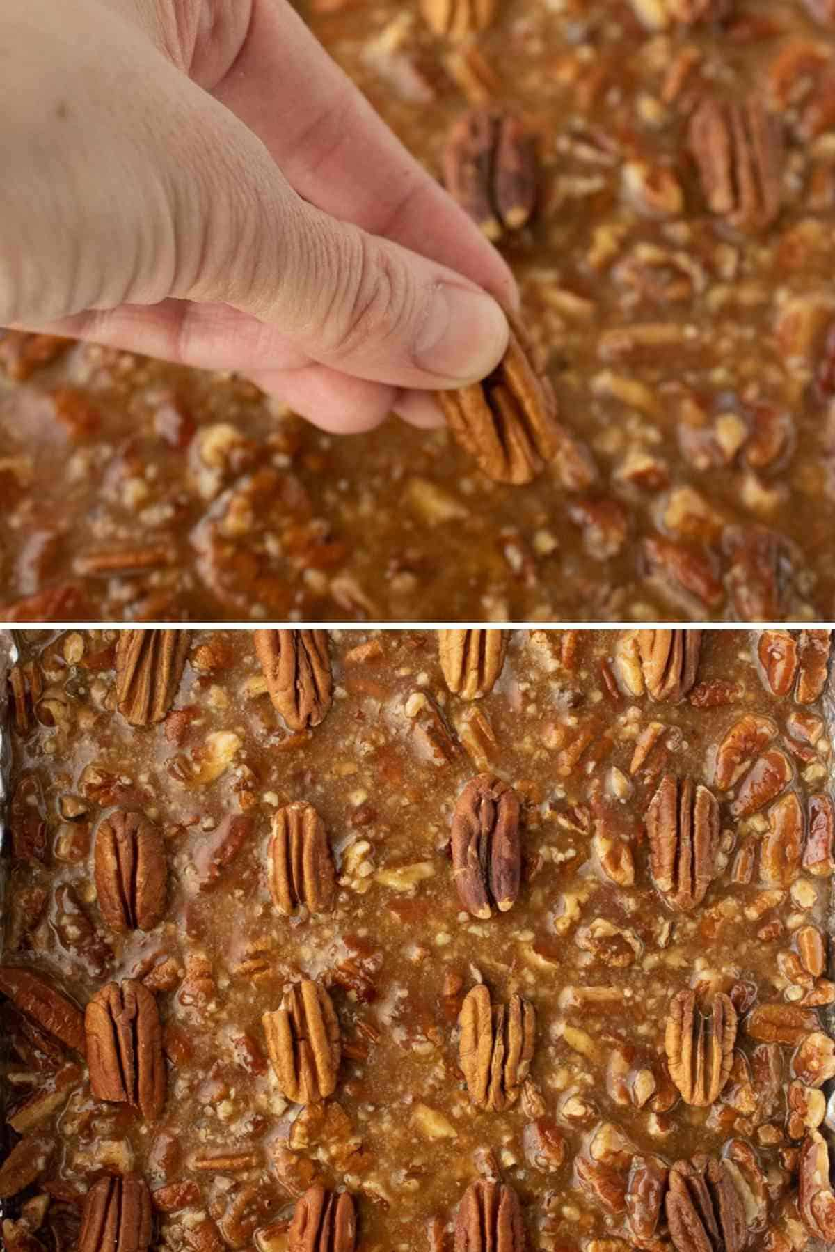 Pecan halves being placed on the top of the filling.