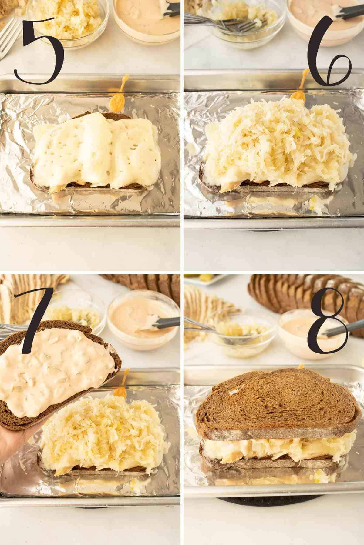 Steps shown as swiss melted, topped with sauerkraut and topped with top piece of bread with dressing on it.