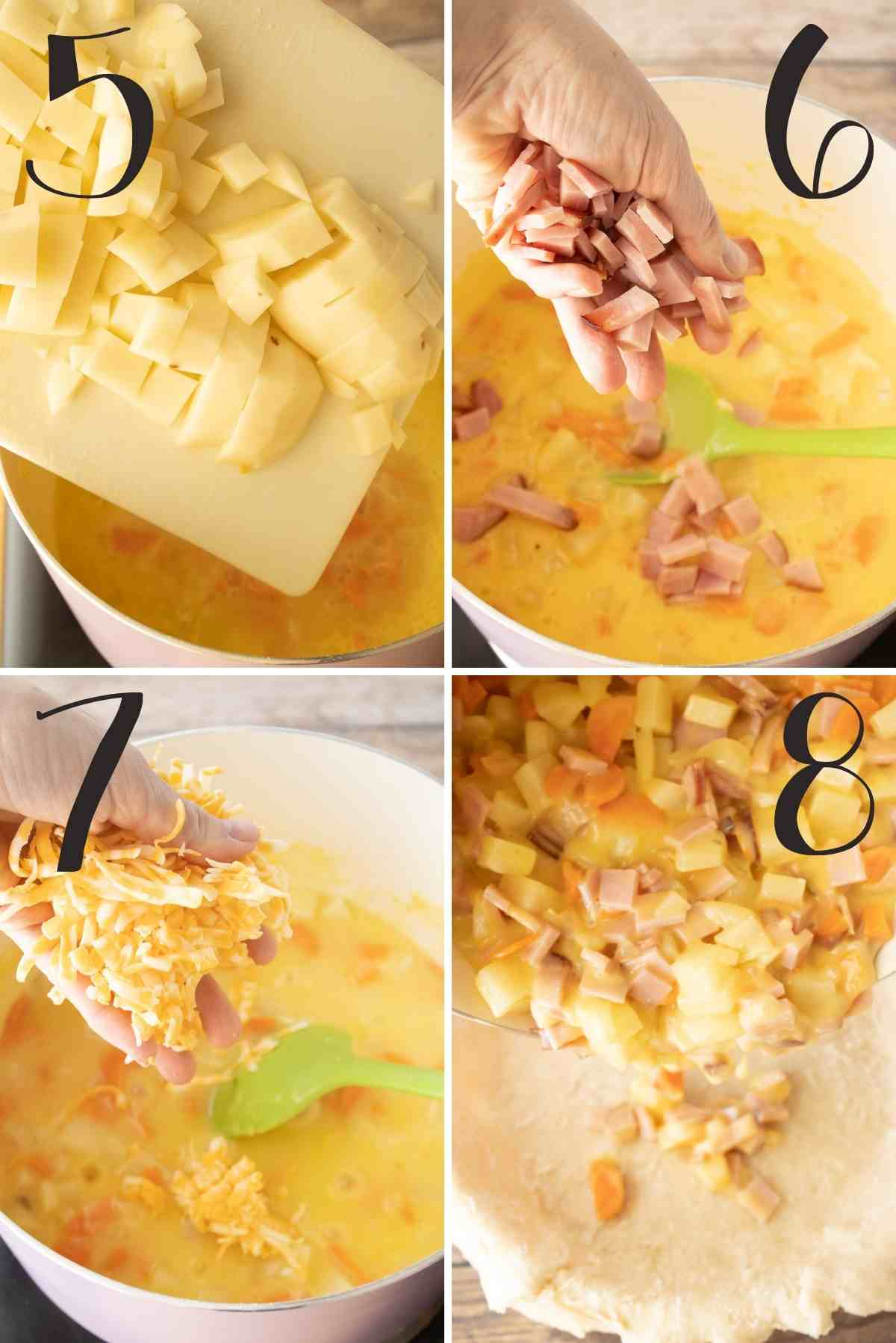 Adding the potatoes, ham, and cheese this pouring in a pie shell.