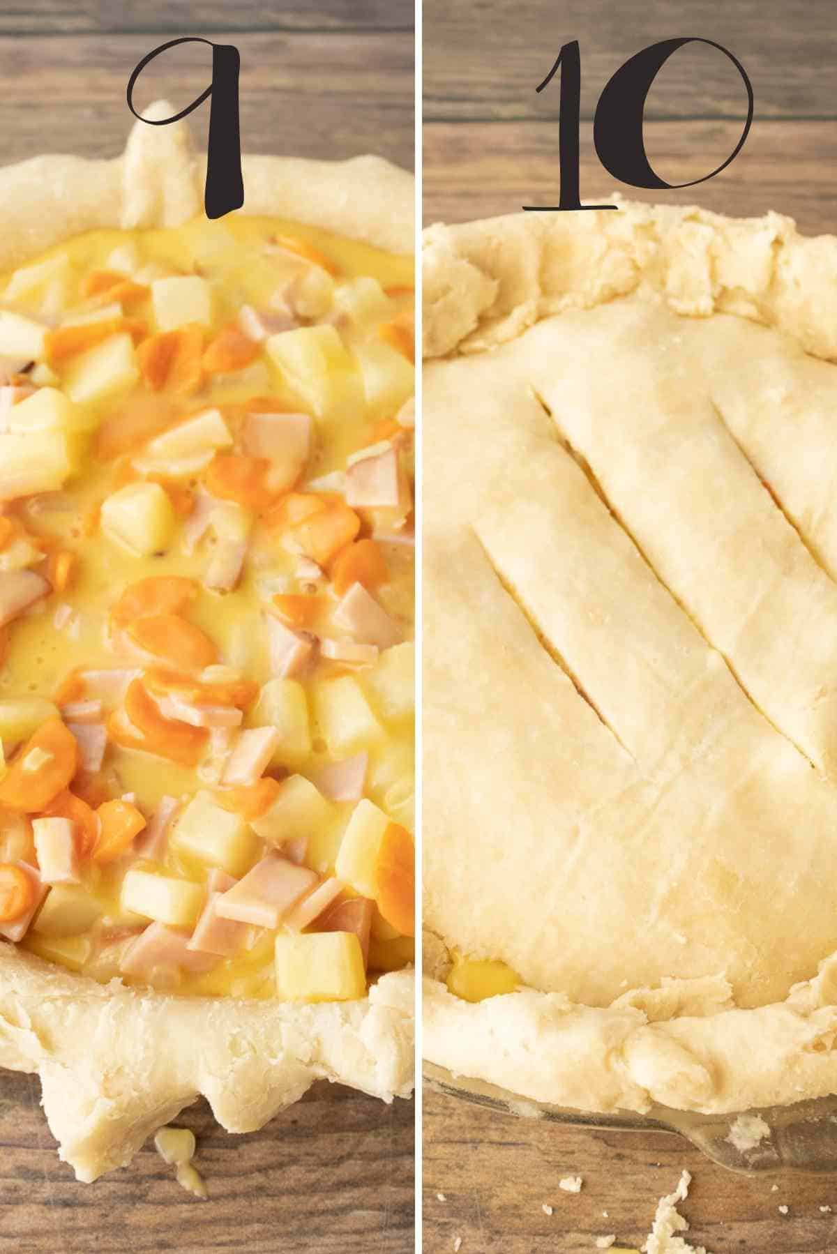 Ham pot pie before and after adding the top pie crust.