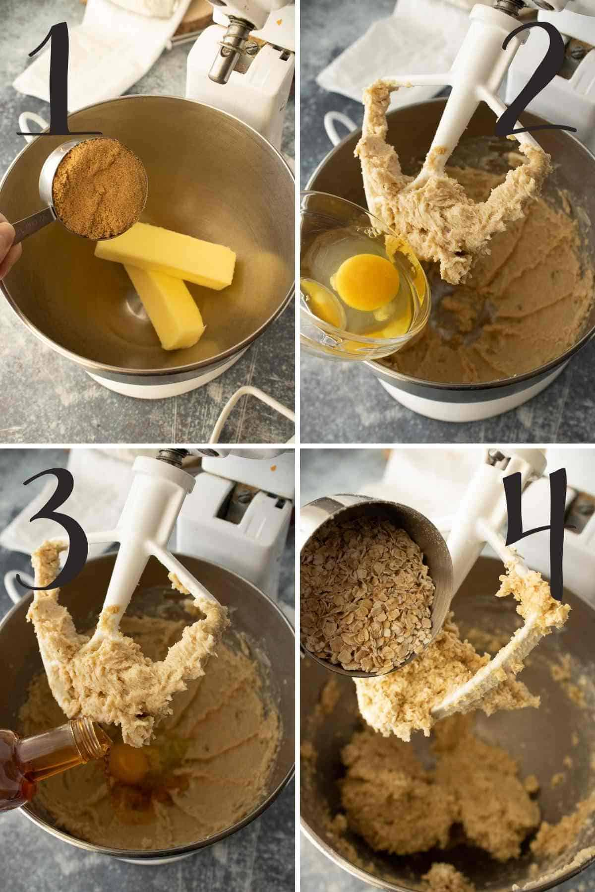 Steps of creaming the butter and sugar, adding the egg and vanilla, and then the quick oats.