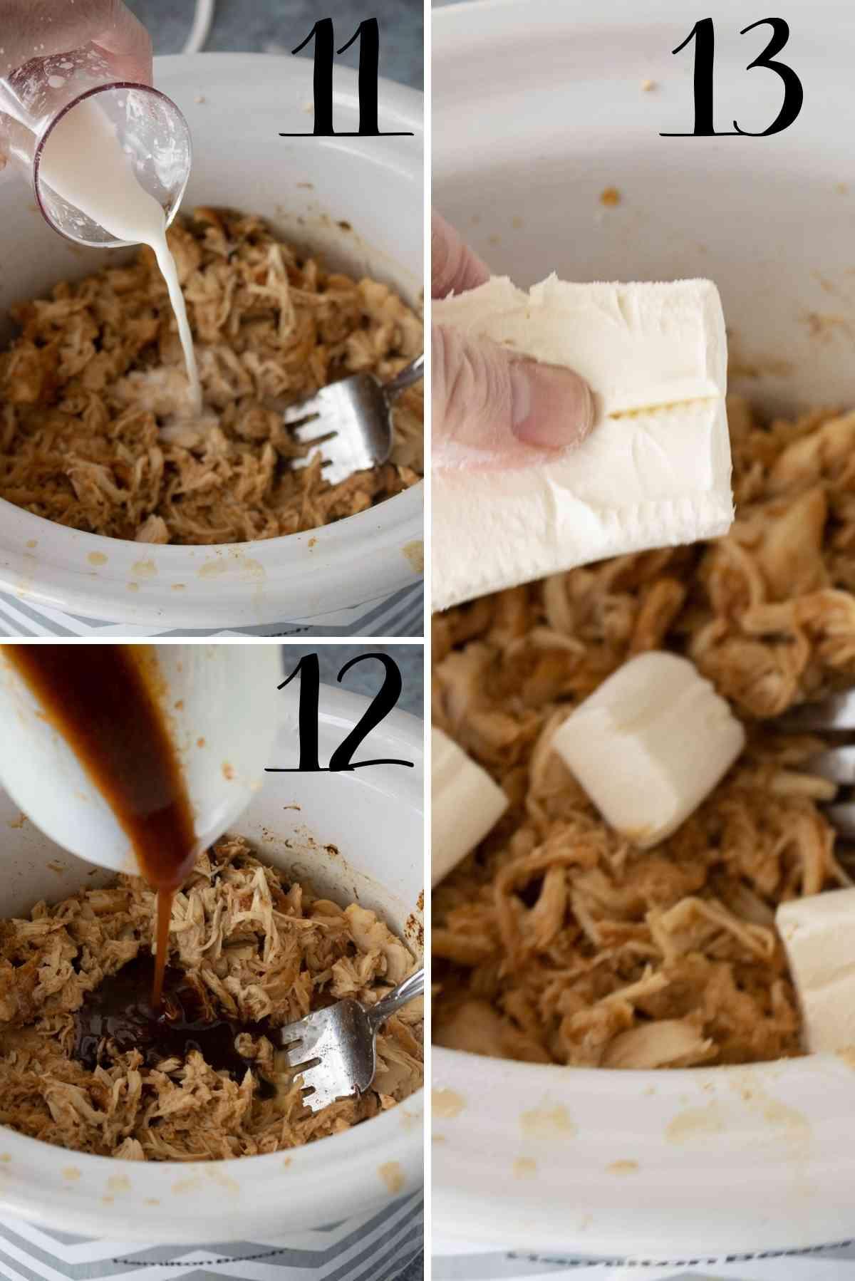 Add cornstarch water, remaining sauce and cream cheese.