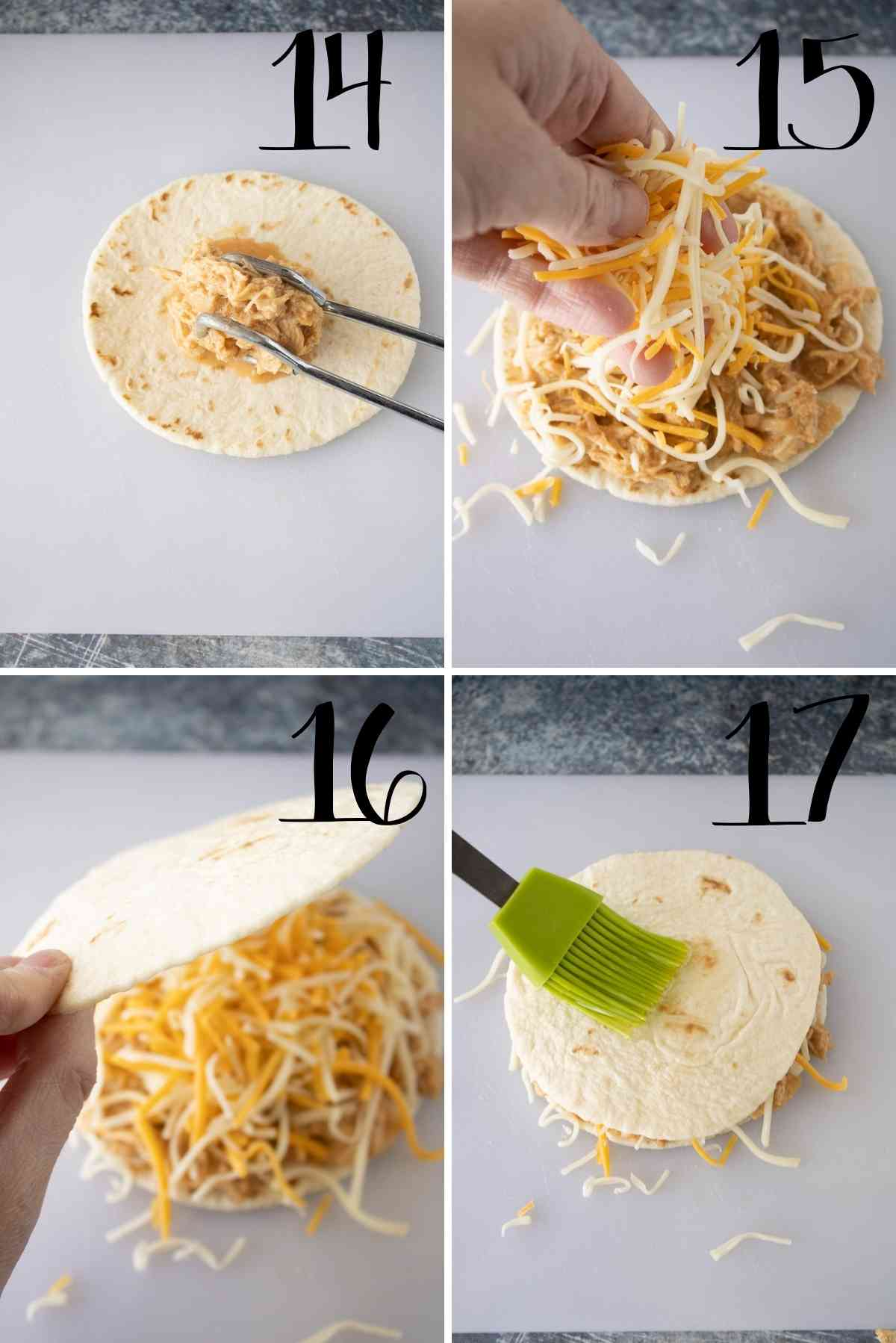 Put chicken and cheese on street tortilla and brush top with olive oil