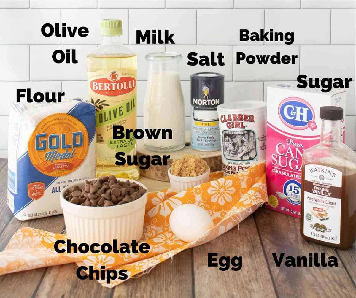 Ingredients needed for chocolate chip muffins.