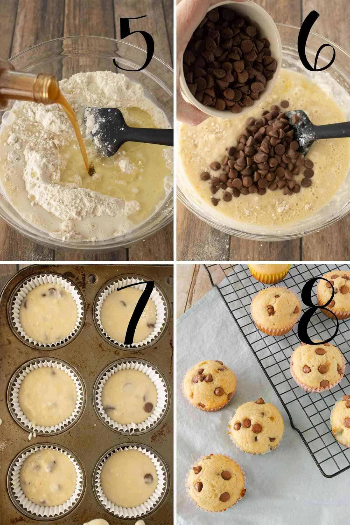 Chocolate chips added, mixed in and batter scooped into a muffin tin.