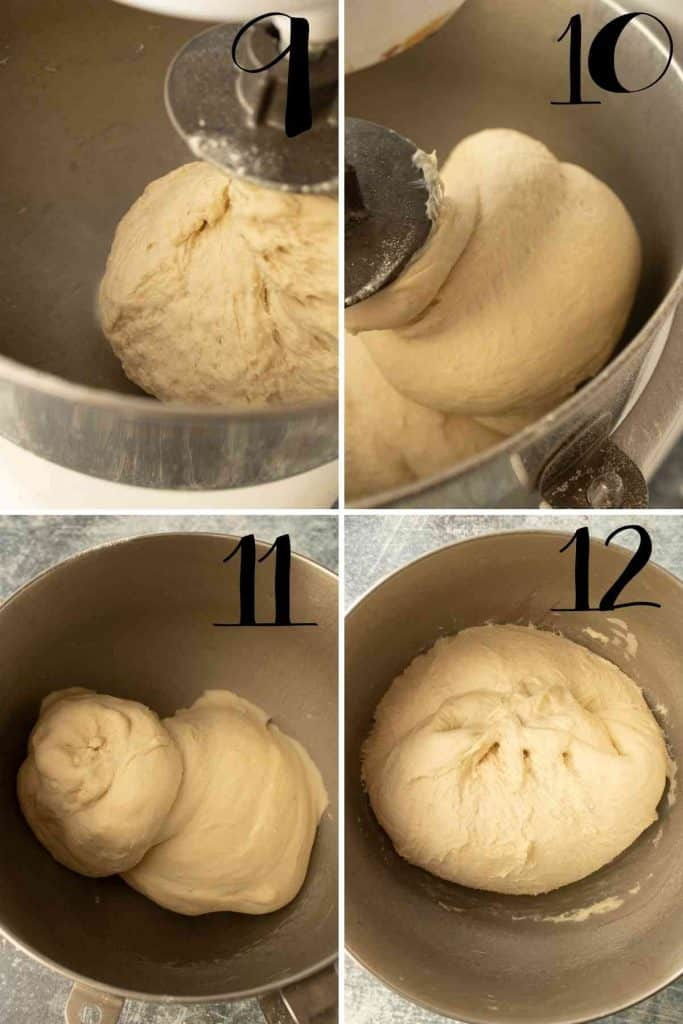 what dough looks like before kneading compared to after.