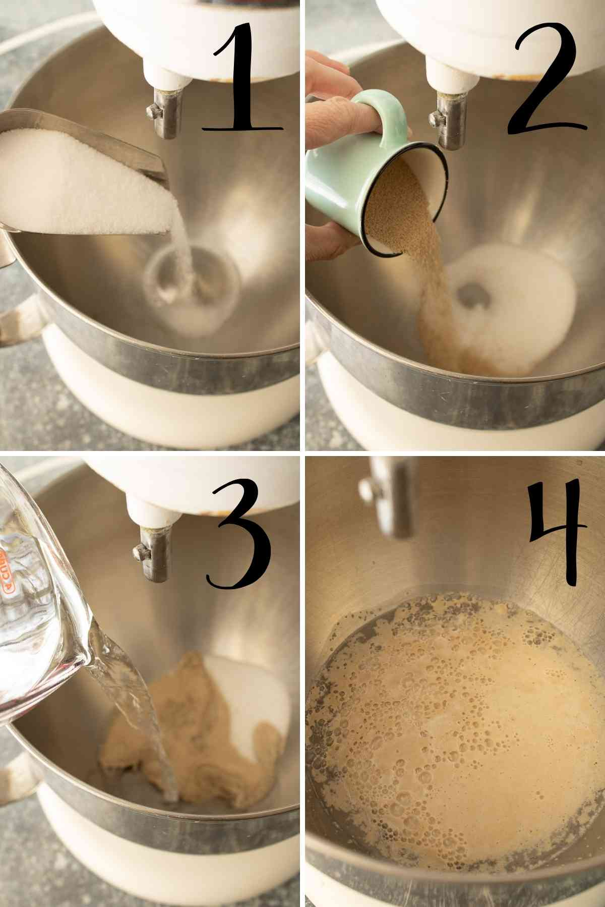Sugar, yeast and water added to a mixer bowl to get foamy.