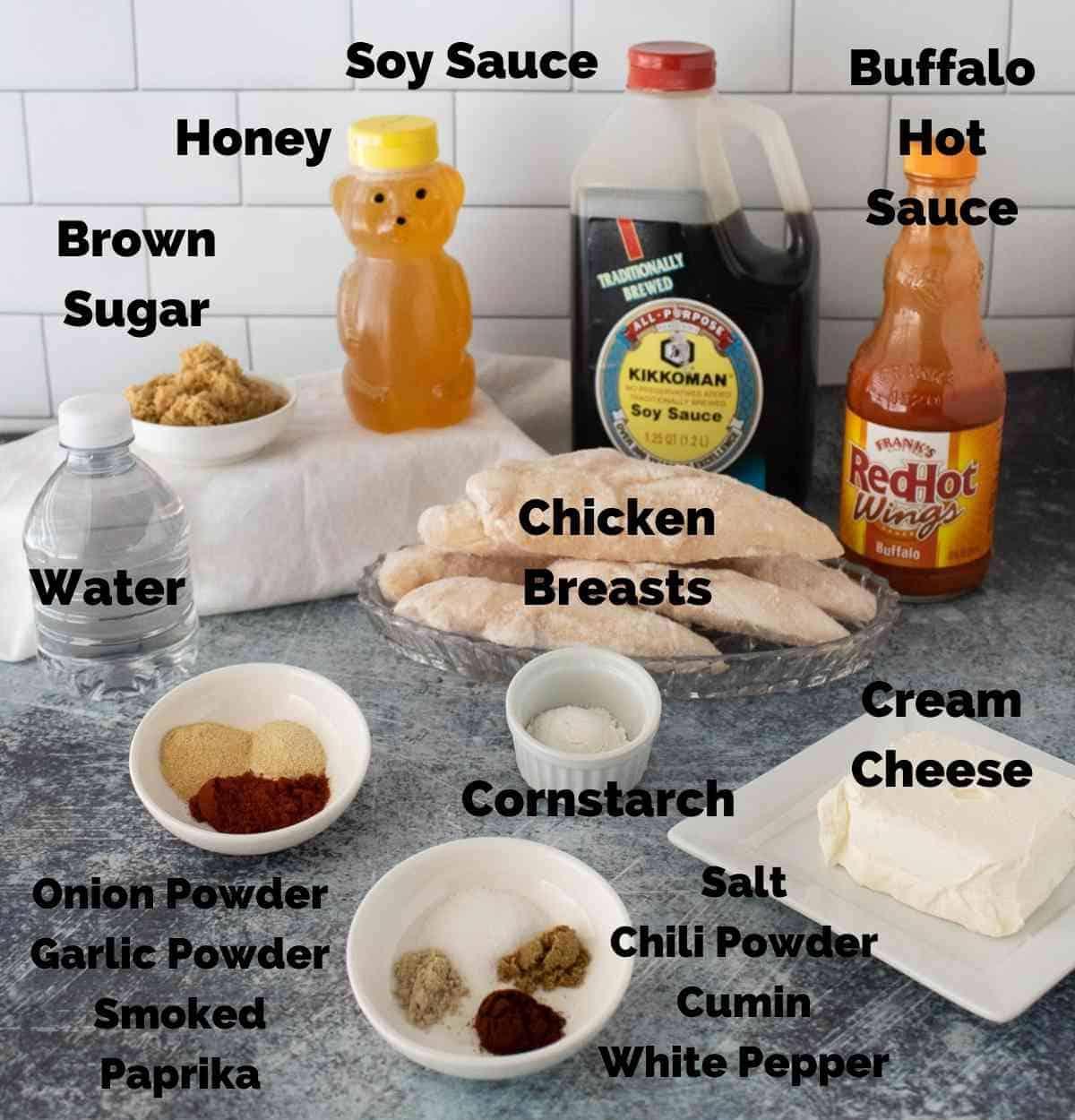 Ingredients for buffalo chicken quesadillas
