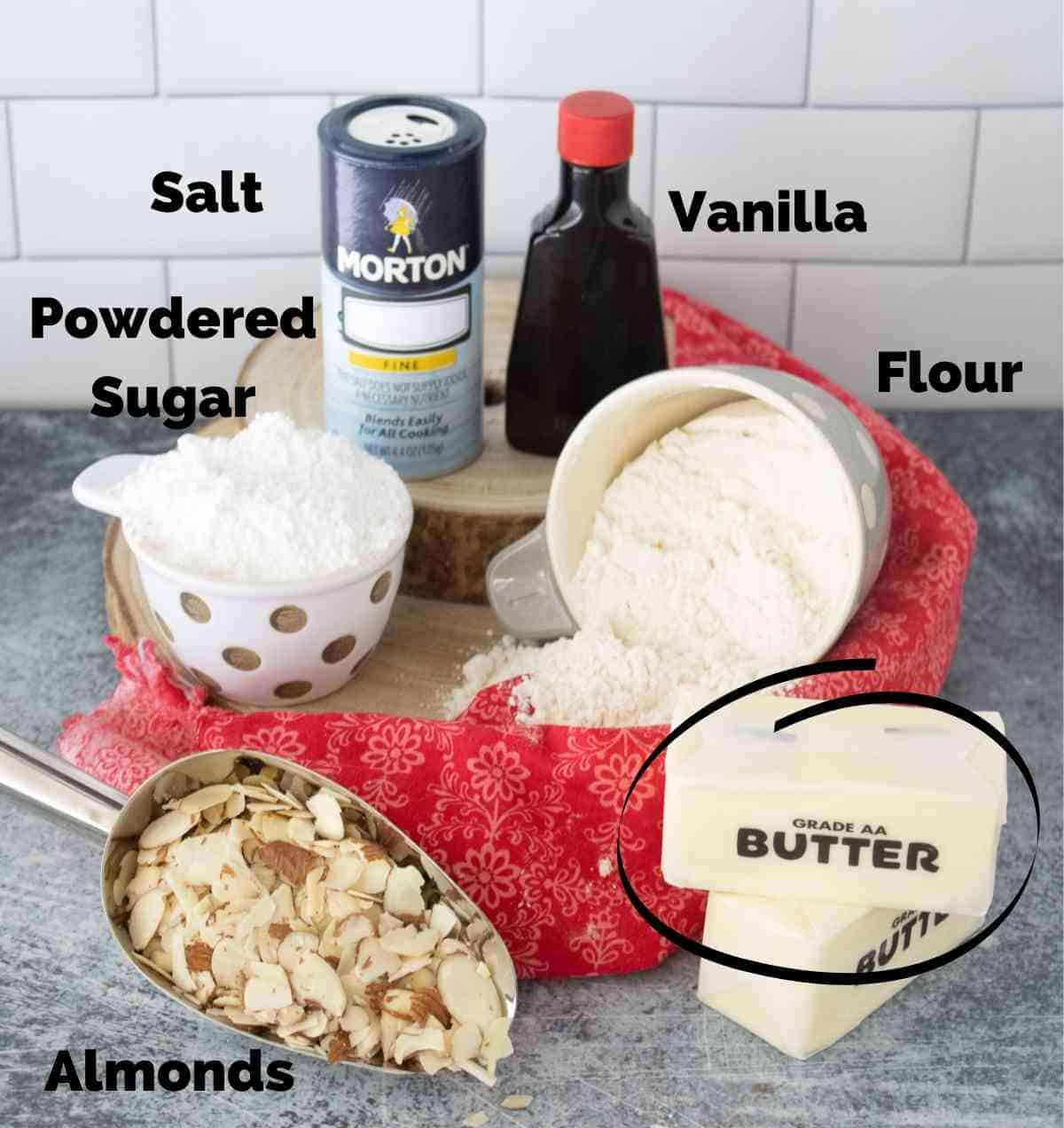 Ingredients for almond snowball cookies.