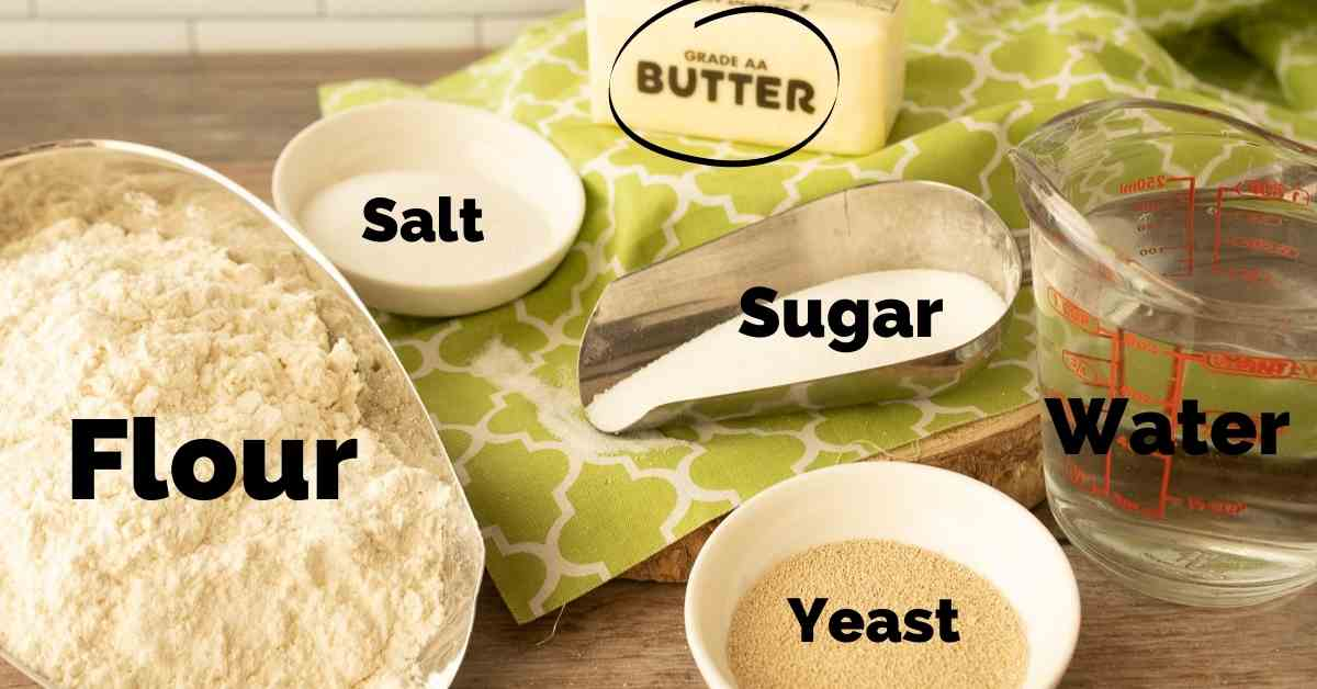 Ingredients for 90 minute dinner rolls.
