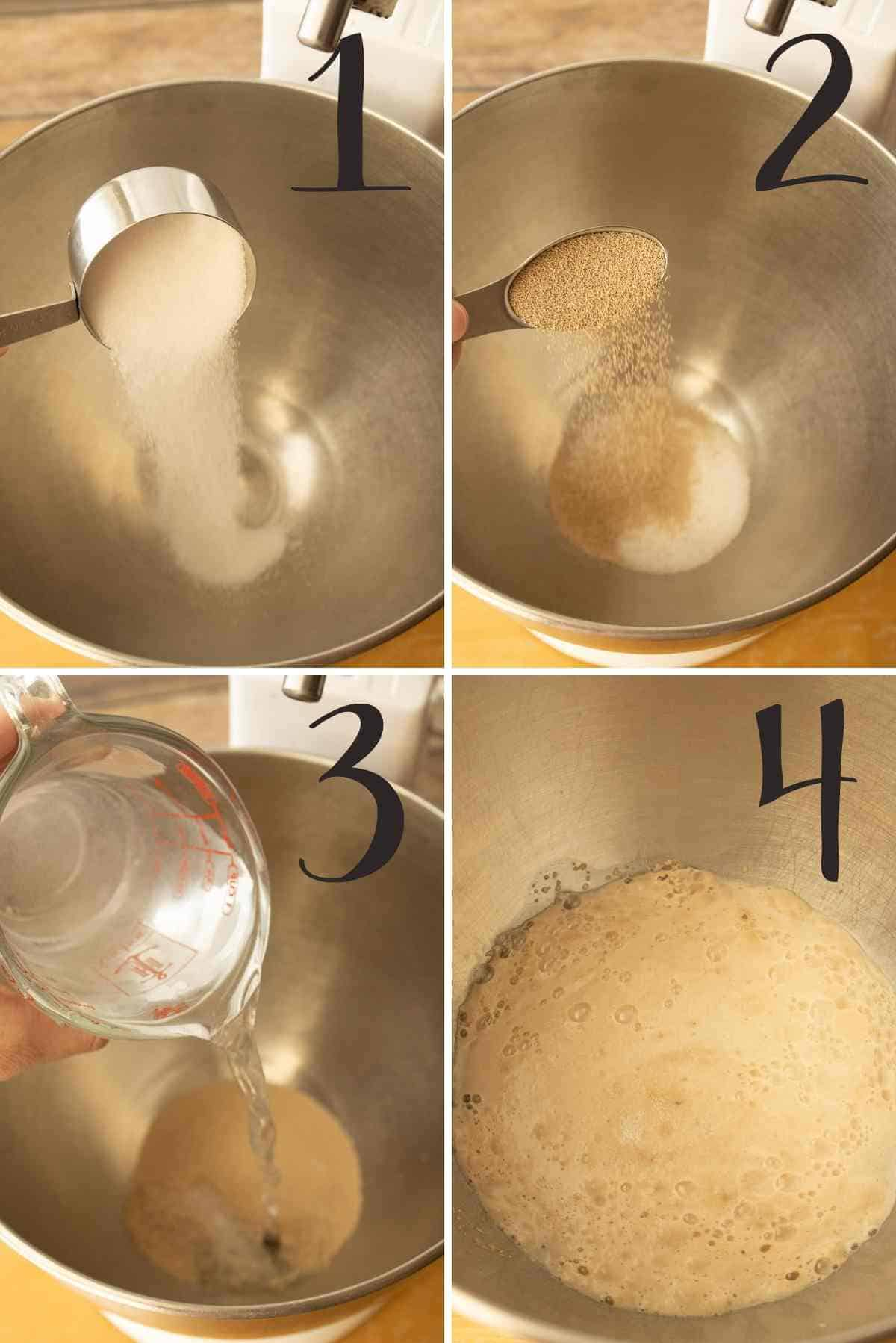 Sugar, yeast and warm water added to a mixing bowl.