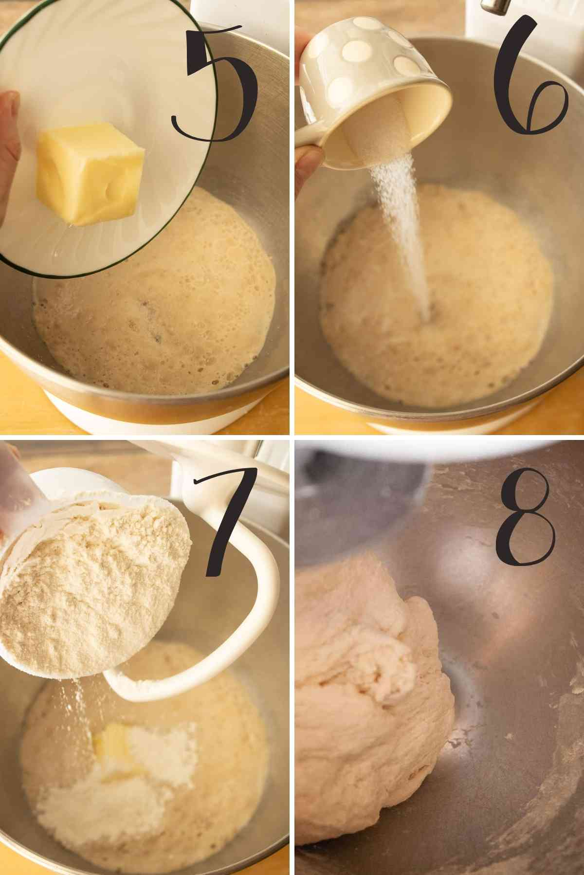 Butter, salt and flour added to the yeast mixture and kneaded for 3 minutes.