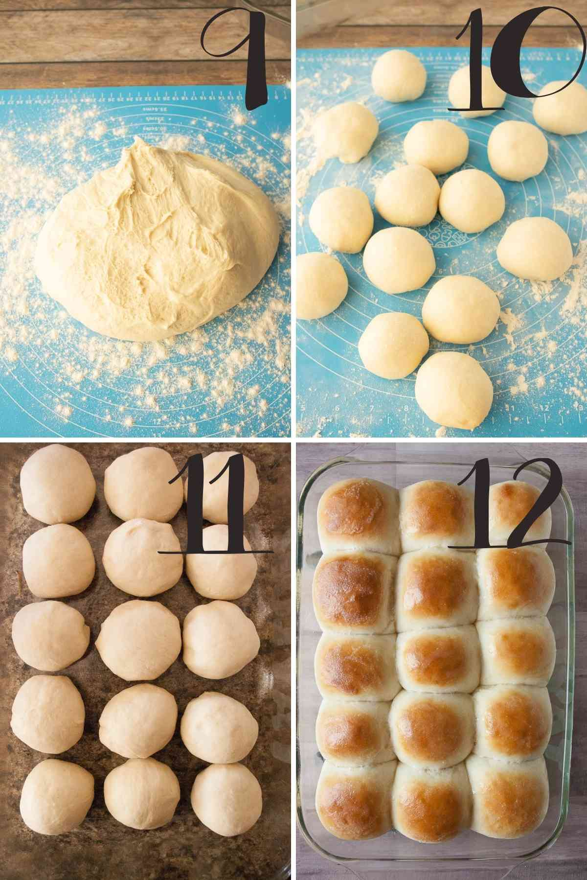 Dough dumped out, divided into pieces, shaped, placed on a pan and baked.
