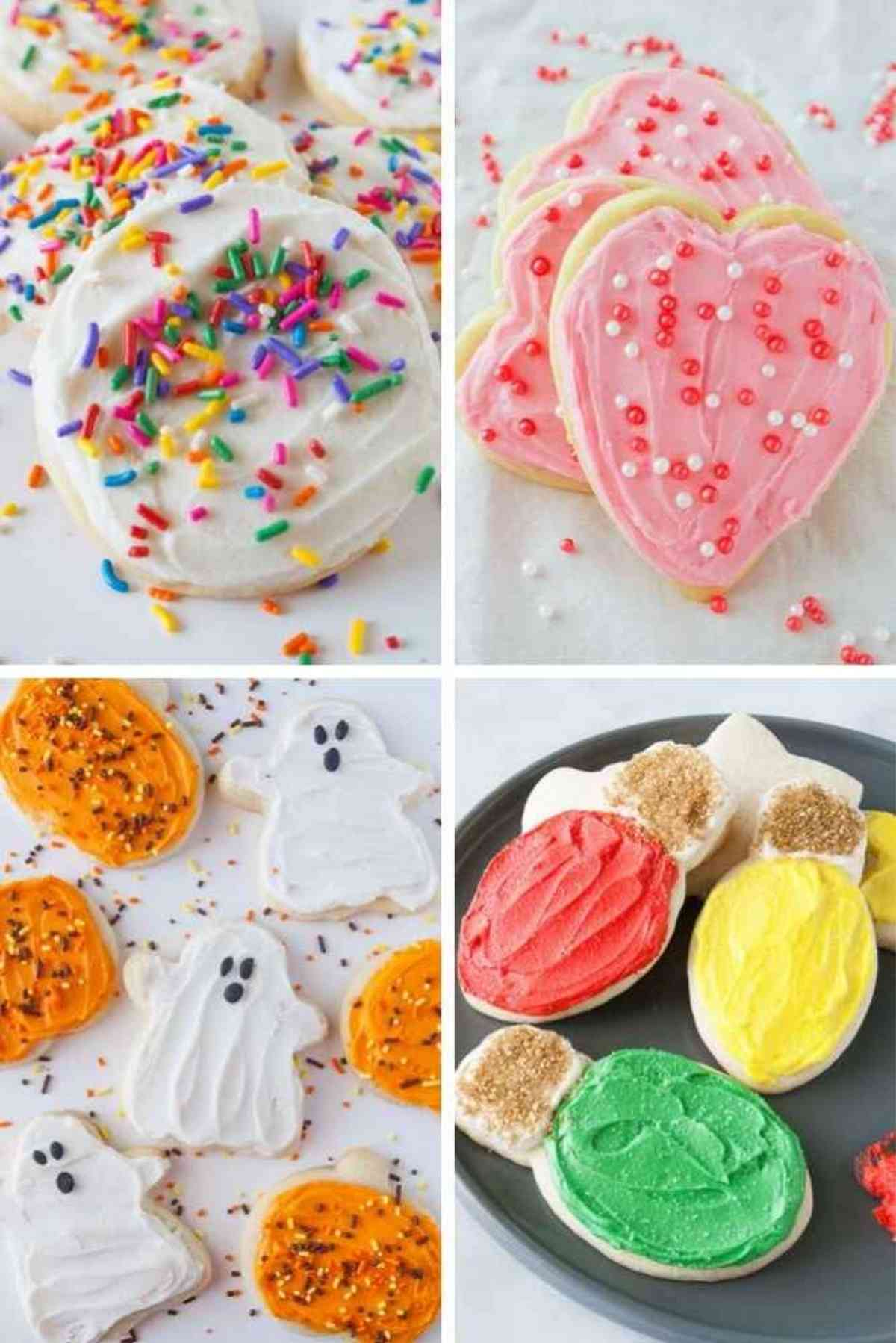 These almond sugar cookies cut out and decorated for valentine's day, Halloween, Christmas or just everyday!