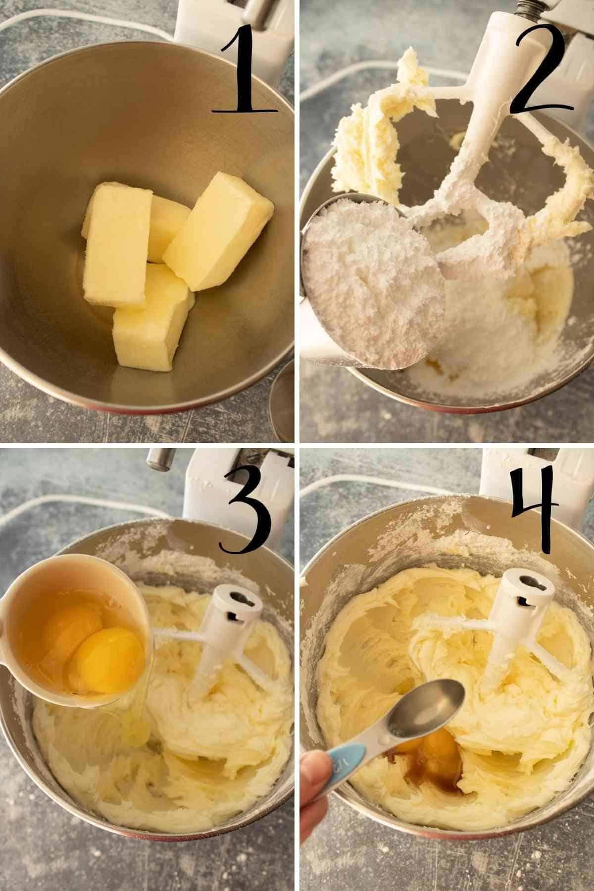 Cream butter, sugar, eggs and vanilla.