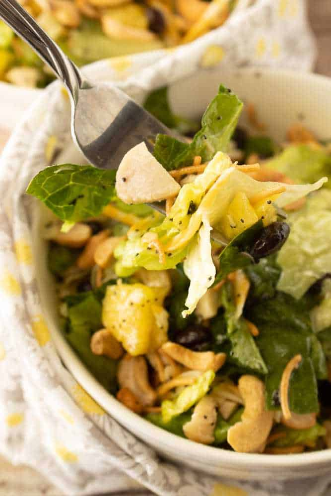A bowl of caribbean chicken salad