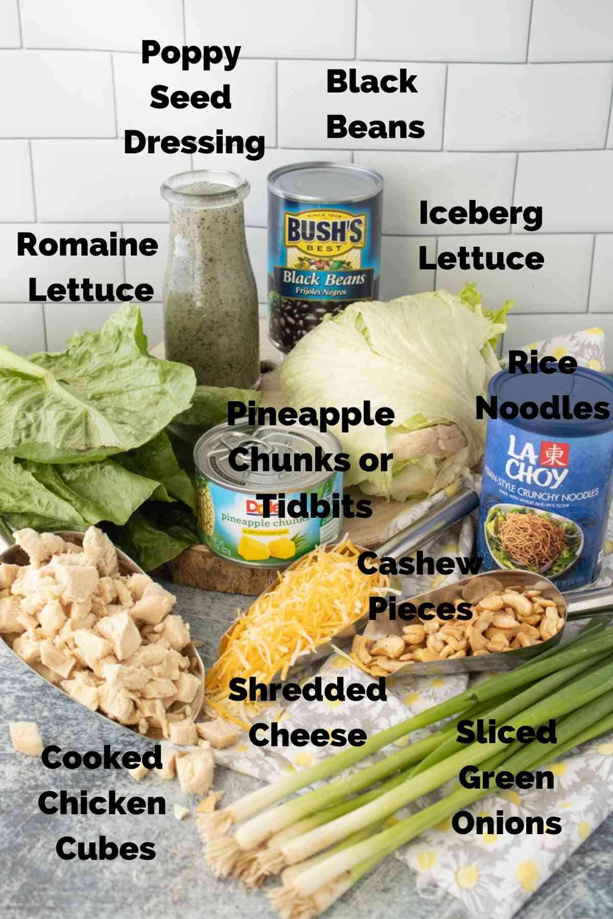 Ingredients for the caribbean chicken salad.