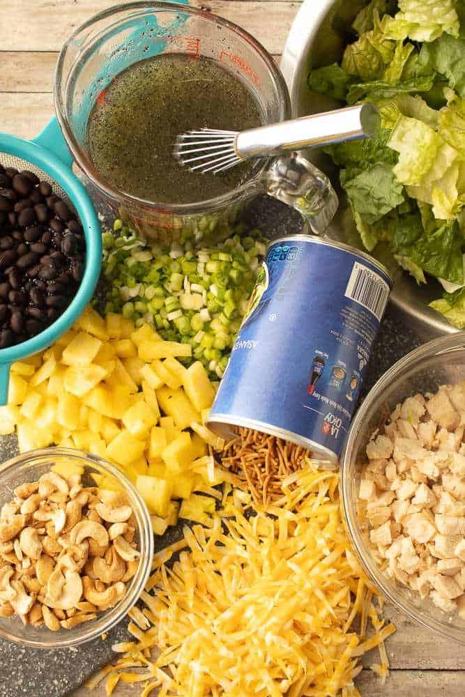Ingredients for caribbean chicken salad.